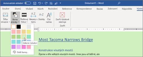 Wordový dokument se zeleným pozadím a otevřeným dialogem pro výběr barvy stránky