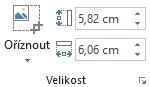 Tlačítko Oříznout a pole Výška a Šířka pro obrázky na pásu karet Office 2016