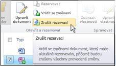 Ikona Zrušit rezervaci na pásu karet služby SharePoint