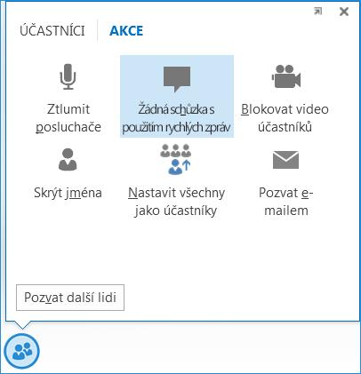 Snímek obrazovky s možností Žádná schůzka s použitím rychlých zpráv