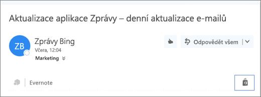 Snímek obrazovky s horní částí e-mailové zprávy se zvýrazněnou ikonou Storu. Po kliknutí na tuto ikonu se otevře okno Doplňky pro Outlook, kde můžete vyhledat a nainstalovat doplňky.