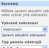Podokno nástrojů webové části s vybranou položkou Všechny položky v seznamu Vybrané zobrazení.