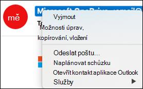 Otevřete kontaktní informace z e-mailu.