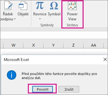 Tlačítko vlastního zobrazení kontingenční tabulky a dialog zapnutí doplňku v Excelu