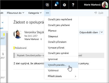 Snímek obrazovky s e-mailovou zprávou a vybranou možností Další příkazy > Vytvořit pravidlo...
