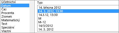 Dialog Formát buněk, příkaz datum, 3/14/12 1:30 ODP.