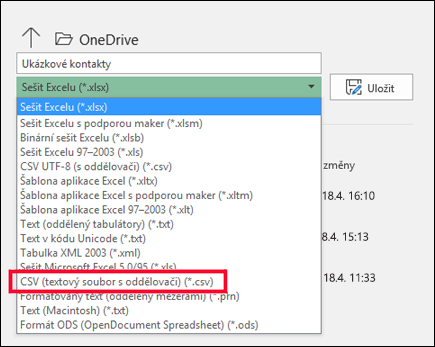 Uložení excelového souboru ve formátu CSV