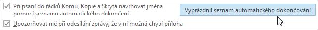 Zvolte Soubor, Možnosti, Pošta a v části Odesílání zpráv zvolte tlačítko Vyprázdnit seznam automatického dokončování.
