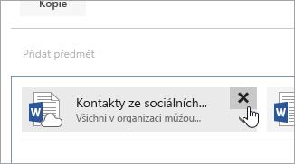 Snímek obrazovky s tlačítkem Odstranit přílohu