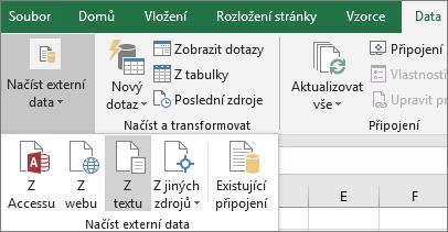 Na kartě Data je zvýrazněná možnost Z textu.