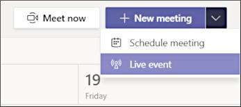 Tlačítko Nová schůzka – živá událost