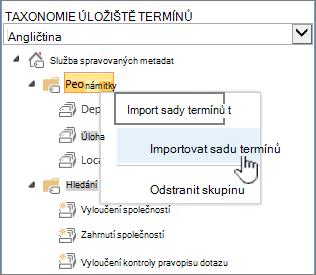 Importovat sadu termínů rozevírací seznam