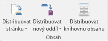 Ikony na kartě Poznámkový blok předmětu, včetně ikon Distribuovat stránku, Distribuovat nový oddíl a Distribuovat knihovnu obsahu