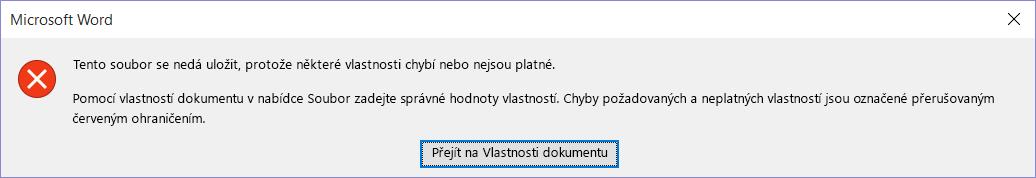 Dialogové okno s upozorněním, že soubor nejde uložit