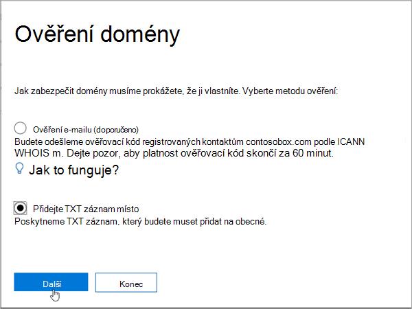 TXT Domainnameshop vyberte místo toho přidat v Office 365_C3_2017627999