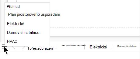 Vyberte tlačítko seznam stránek, které se zobrazí a vyberte z kompletního seznamu stránek v aktuálním souboru výkresu.