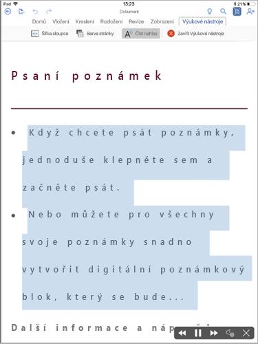 Zobrazení funkce Číst nahlas ve Výukových nástrojích