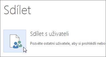 Tlačítko Sdílet s uživateli ve Wordu Online