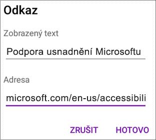 Dialogové okno pro přidání hypertextového odkazu ve OneNotu pro Android