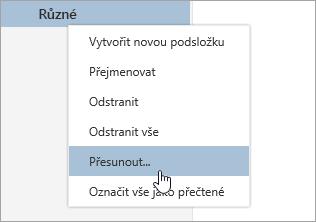 Snímek obrazovky s místní nabídka složky s přesunout vybrané