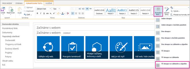 Obrázek znázorňující postup výběru rozložení textu pro návrh domovské stránky