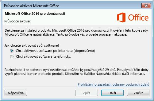 Zobrazí Průvodce aktivací Microsoft Office.
