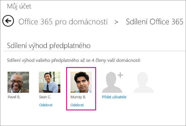Snímek obrazovky stránky Sdílet Office 365 s vybranou uživatelskou možností Odebrat.