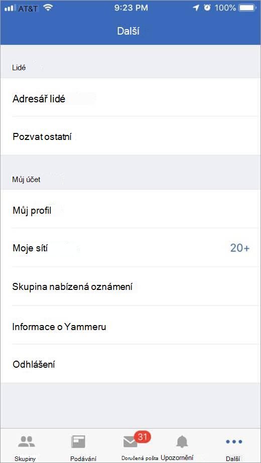 stránky Yammeru iOS, který obsahuje další možnosti