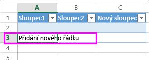 Přidání nového řádku zadáním dat do řádku pod posledním řádkem tabulky