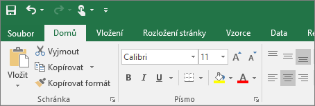 Zobrazuje pás karet s barevným motivem v Excelu 2016.