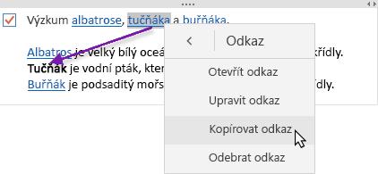 Zobrazuje vybraný hypertextový odkaz, který se kopíruje do nového umístění.
