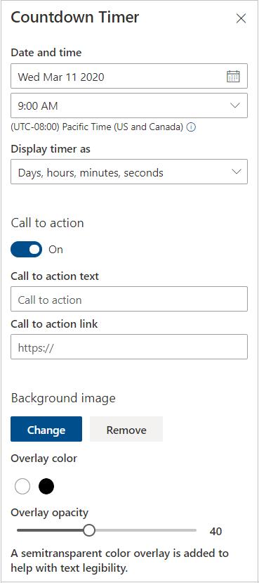 Odpočítávání nastavení časovače