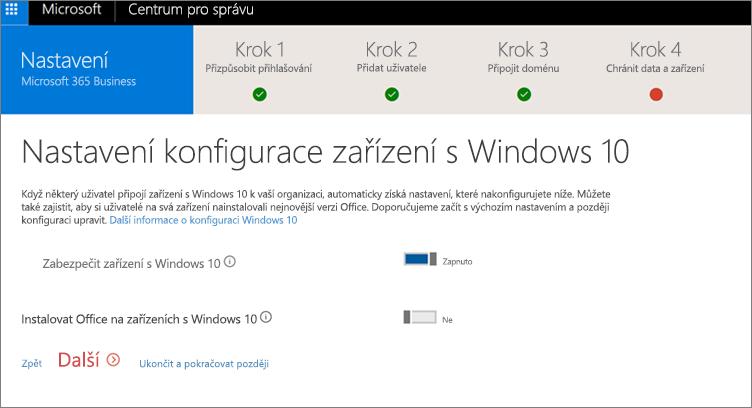Snímek obrazovky stránky Příprava zařízení sWindows 10