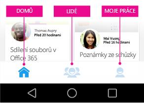 Delve pro Android – hlavní nabídka