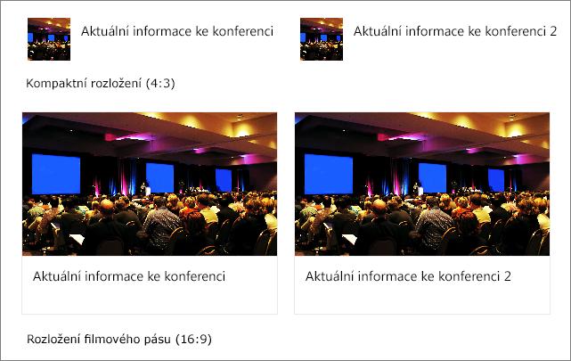 Příklady obrázků v rozloženích Rychlých odkazů