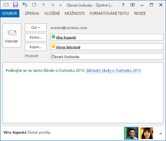 text upravený hypertextový odkaz v e-mailové zprávy