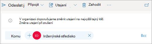 Snímek obrazovky s tipem na doporučeném štítku citlivosti