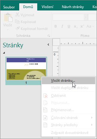 Příkaz Vložit stránku v navigačním podokně Stránky v Publisheru