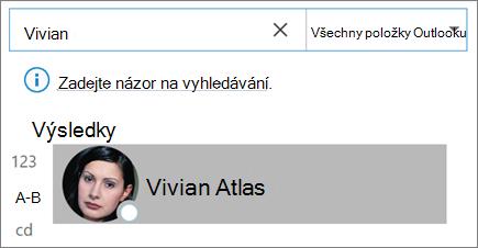 Vyhledání kontaktů pomocí vyhledávání v Outlooku