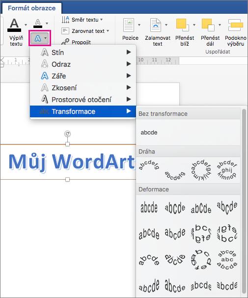 Karta Formát obrazce se zvýrazněnou možností textových efektů.