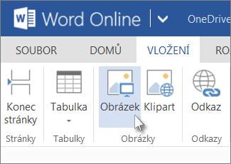 Obrázek příkazu Vložit obrázek ve Wordu Online
