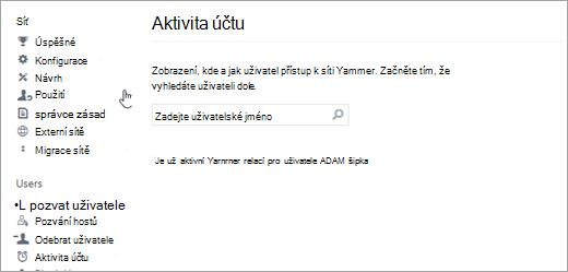 Snímek obrazovky s aktivita účtu pro uživatele s žádné aktivní Yammer relací (odhlášeni)