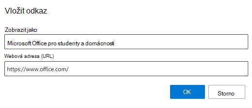 Vložení odkazu v Outlooku