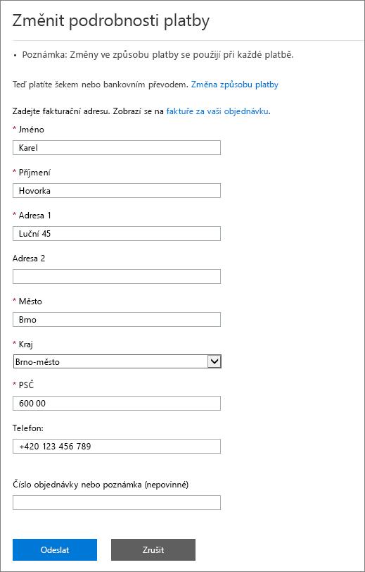 Snímek obrazovky s podoknem Změnit podrobnosti platby