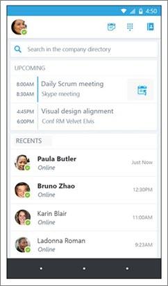 Domovská obrazovka Skypu pro firmy pro Android