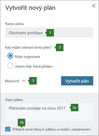 Vytvoření nového plánu