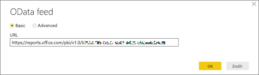 Adresa URL datového kanálu OData pro Power BI Desktop