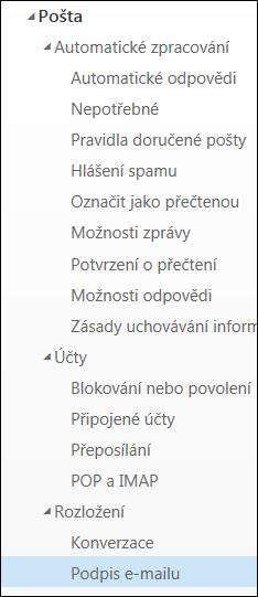 Outlook na webu: Podpis e-mailu