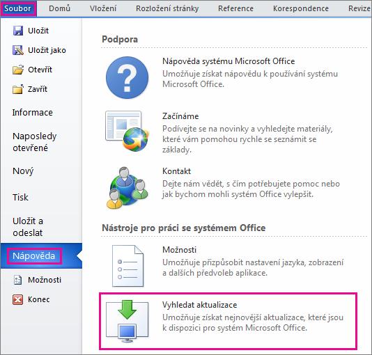 Ruční kontrola aktualizací Office ve Wordu 2010