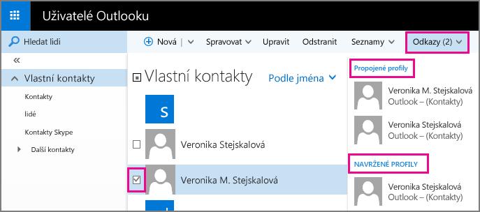 Snímek obrazovky se stránkou Lidé v Outlooku Snímek obrazovky znázorňuje dva kontakty s podobnými jmény. Taky znázorňuje rozevírací nabídku Odkazy na panelu nástrojů, který obsahuje část Propojené profily a část Navrhované profily.